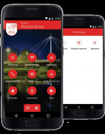 dwa telefony z grafikami aplikacji gminy Aleksandrów
